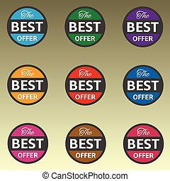 Best offer coloured icon set. Vector illustration