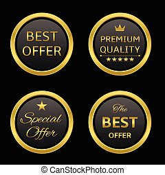 Golden labels - Golden round award label set: best offer,...