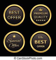 Golden labels - Golden round award label set: best offer,...