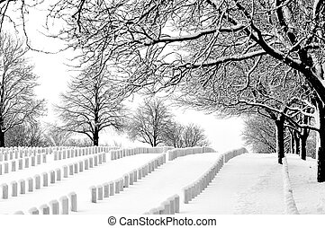 Wood National Cemetery in winter.