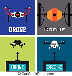 Drones - Set of silhouettes of drones on a colored...