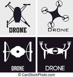 Drones - Set of silhouettes of drones on a white and black...