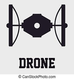Drones - Isolated silhouette of a drone on a white...