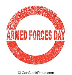 Armed Forces Day red in stamp over a white background