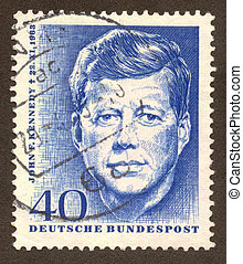 postmark - GERMANY -CIRCA 1964: John Kennedy often referred...