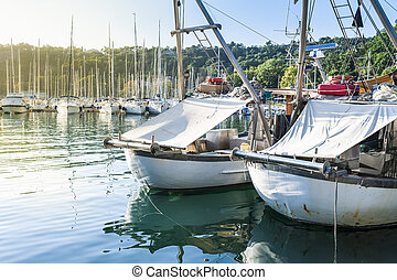 Fishing boats in harbor - Fishing boats in the port of...