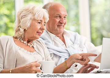 Surfing on the internet - Modern senior couple surfing on...