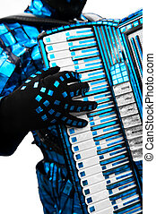Accordionist extraordinaire, performing in a blue foil...