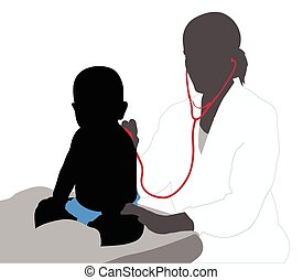 Pediatrician examining of baby with stethoscope silhouette -...
