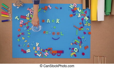 Back to school with plastic letters - Back to school -...