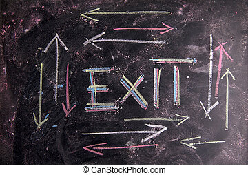 Exit - Icon drawn with chalk on blackboard represent the...