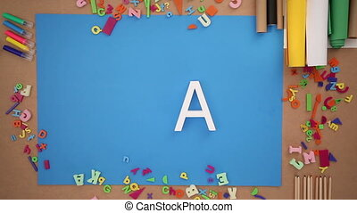 People forming create text on blue background