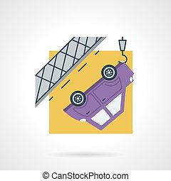 Car evacuation flat vector icon - Simple flat color design...