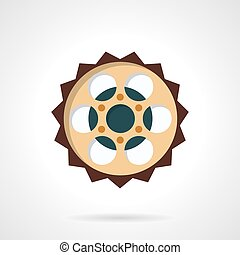 Chain sprocket flat color vector icon - Colored flat style...