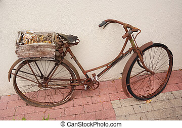 Vintage ladies bike - An old weathered rusty bicycle with...