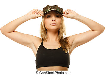 Beautiful woman in military clothes isolated - Beautiful...