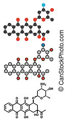 Idarubicin cancer drug molecule Conventional skeletal...