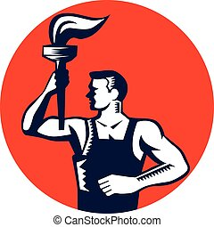 Worker Holding Up Flaming Torch Circle Woodcut