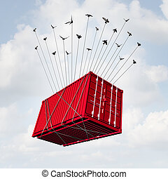 Air Cargo - Air cargo concept as a metal transport container...