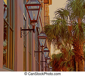 Gaslights of Charleston - A photograph of gaslights along a...