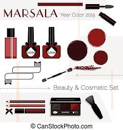 Marsala Beauty & Cosmetic icons set