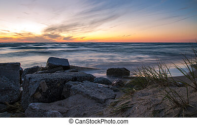 Lake Michigan Sunset - The sunset along the coast of Lake...