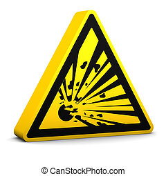 Explosive Sign - Explosive yellow sign on a white...