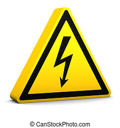 Electric Hazard Sign - Electric hazard yellow sign on a...