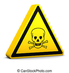 Poison Sign - Poison yellow sign on a white background. Part...