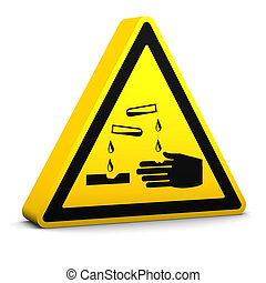 Corrosive Sign - Corrosive yellow sign on a white...