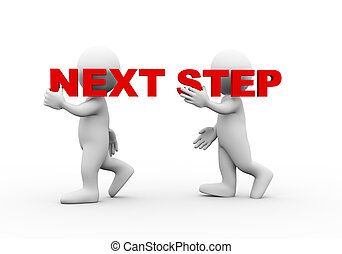 3d people word text next step - 3d illustration of walking...