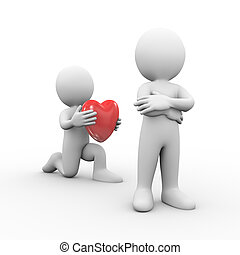 3d man on knee presenting heart to friend