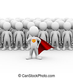 3d super hero in a raincoat and people group - 3d...