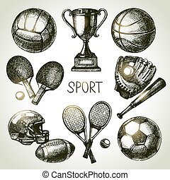 Hand drawn sports set Sketch sport balls Vector illustration...