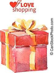 Watercolor painting gift box with bow. Vector illustration