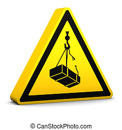 Overhead Loads Sign - Overhead loads yellow sign on a white...