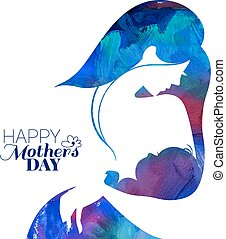 Acrylic painting mother silhouette with her baby. Card of...