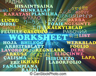 Worksheet multilanguage wordcloud background concept glowing...