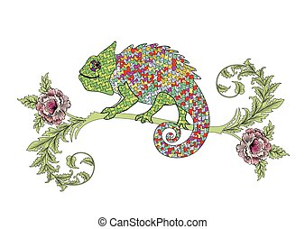 Chameleon on a branch with roses - colorful Chameleon on a...