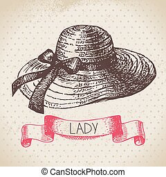 Hand drawn elegant vintage ladies background Sketch women...
