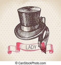 Hand drawn elegant vintage ladies background. Sketch women hat.