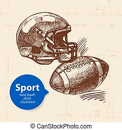 Hand drawn sport object. Sketch american football vector...