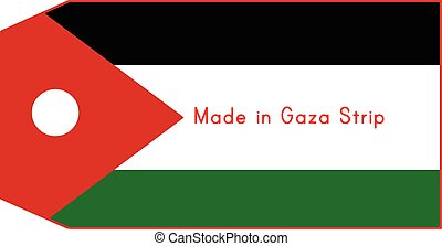 Gaza Strip flag on price tag with word Made in Gaza Strip...