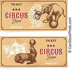 Vintage circus show ticket set. Hand drawn sketch vector...
