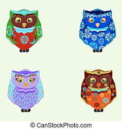 small colored owls