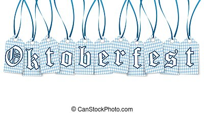 hangtags with text Oktoberfest - eleven hangtags with text...
