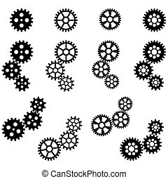 gears for cooperation symbolism - collection of black gears...
