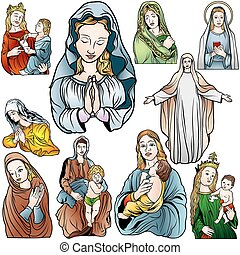 Virgin Mary Set - Colored Illustrations, Vector