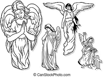 Angel set - Angel Set - Black Outlined Illustrations, Vector