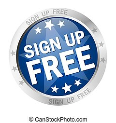 Round button Sign up free - colored round button with silver...